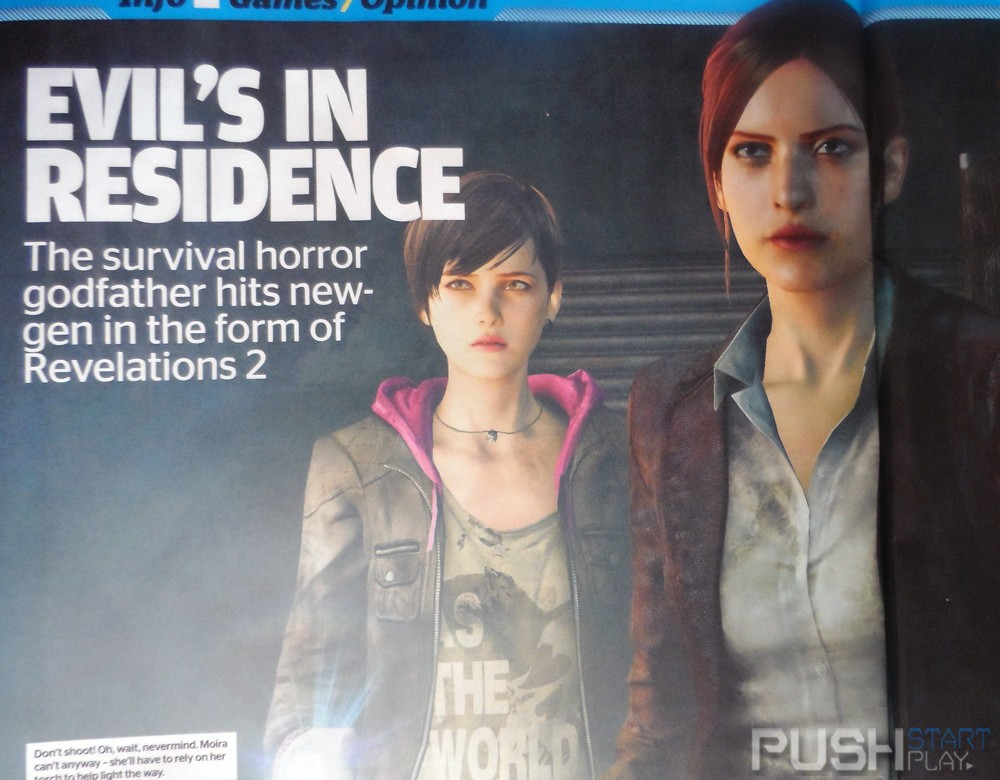 Resident Evil series veteran Claire Redfield returns, and partners together with Moira Burton - the daughter of Barry Burton, in order to survive the events of Resident Evil: Revelations 2. Screenshot of Gamesmaster feature via Push-Start.