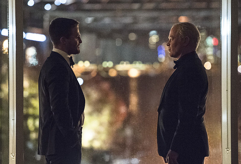 "Arrow -- ""Brotherhood"" -- Image AR407B_275b.jpg -- Pictured (L-R): Stephen Amell as Oliver Queen and Neal McDonough as Damien Darhk -- Photo: Cate Cameron/The CW -- © 2015 The CW Network, LLC. All Rights Reserved."