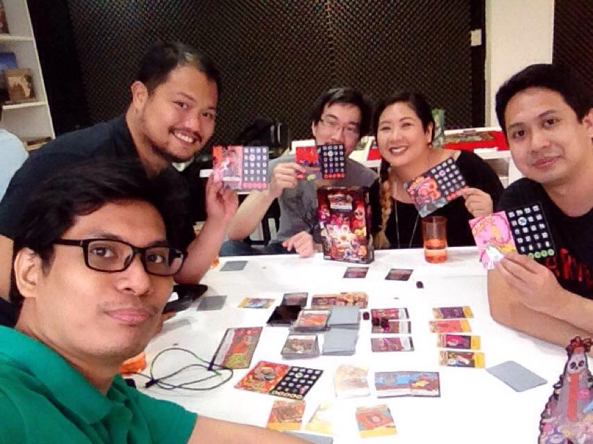 The UnGeek Boardgaming Crew with Liezl and Josh playing Epic Spell Wars