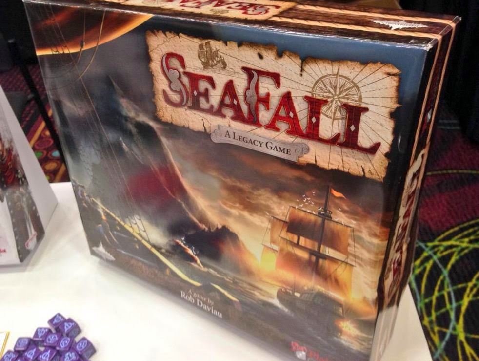 A mock-up box of Seafall during the 2015 GAMA Trade Show. If all goes well, we should have these on our shelves by the end of 2016 as well.