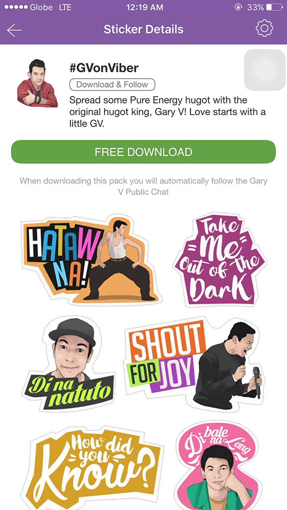 #GVonViber Sticker Pack, ready for download via Viber Sticker Market.