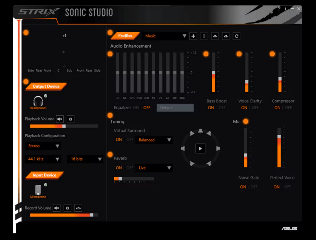 Asus Sonic Studio provides the user with full customizability in one intuitive interface.