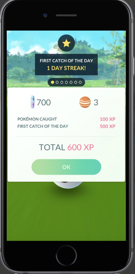 Daily Bonus for Catching a Pokémon
