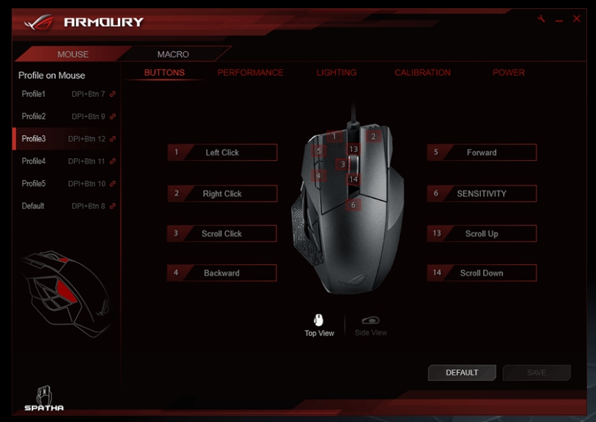 The ROG Armoury is where you can fiddle with the countless settings for your Spatha, it may look intimidating but it's very easy to pick up and use!