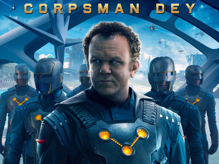 John C. Reilly plays Rhomann Dey. Questionable costume for a Corpsman as the 3-circle symbol is usually reserved for Centurion-Status.