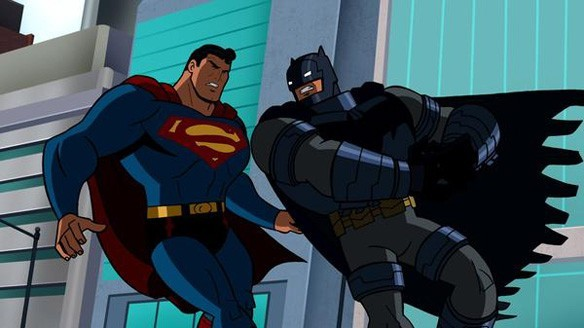 Fully armored Batman gives Superman the smack-down in DKR.