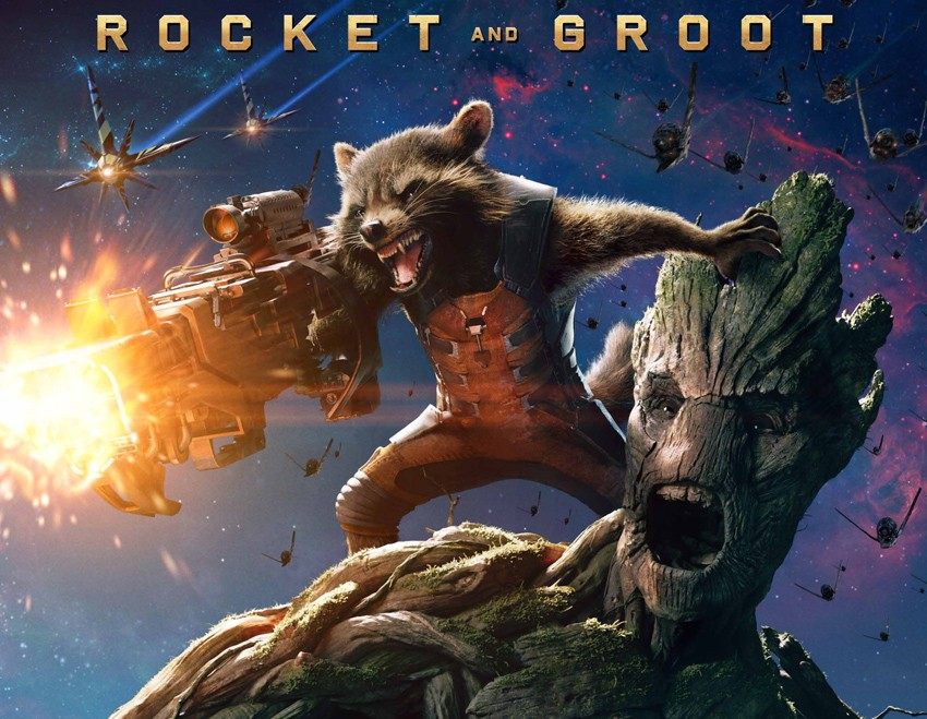 Rocket voiced by Bradley Cooper and Groot voiced by Vin Diesel