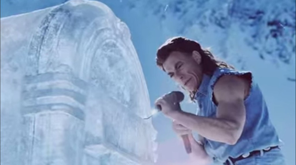 JCVD sculpts an Ice Bar with his bare hands in the new Coors Light commercial he stars in.