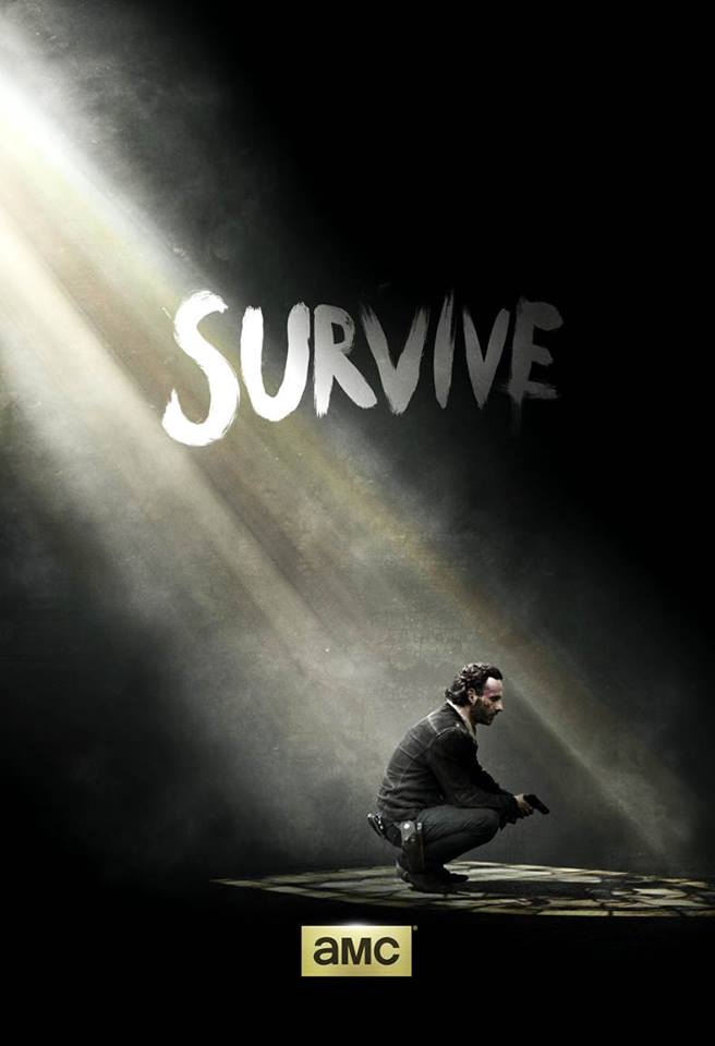 """Survive"" teaser poster of Season 5 released after the end of Season 4, featuring Rick Grimes (Andrew Lincoln) kneeling in a dark room with a ray of light shining down on him. Photo by AMC."