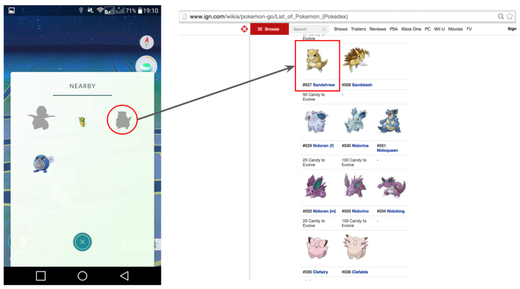 Left: Nearby with unknown Pokémons , Right: IGN Pokémon GO - Pokédex