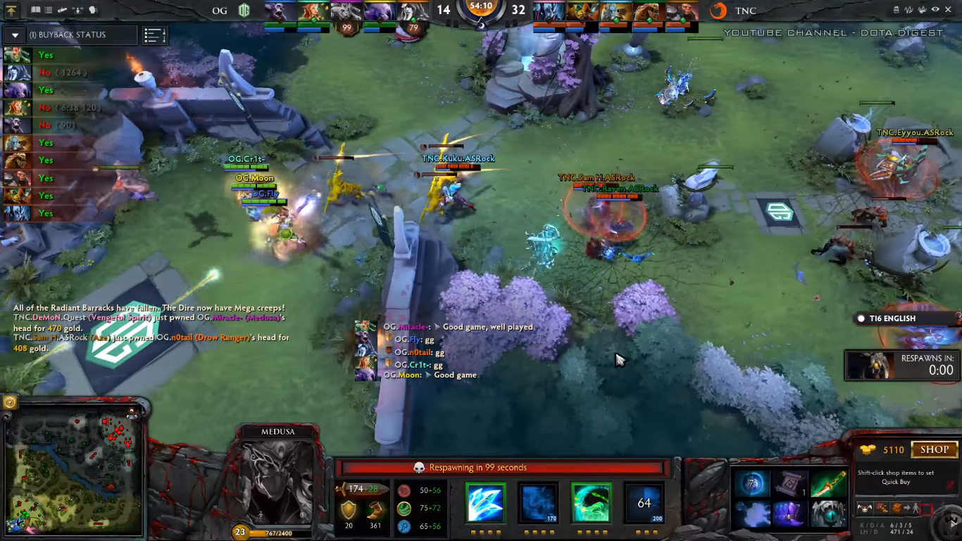 Kuku as Phantom Lancer dominates OG and chase them back to the fountain for the GG! (Image courtesy of Dota Digest Youtube Channel)