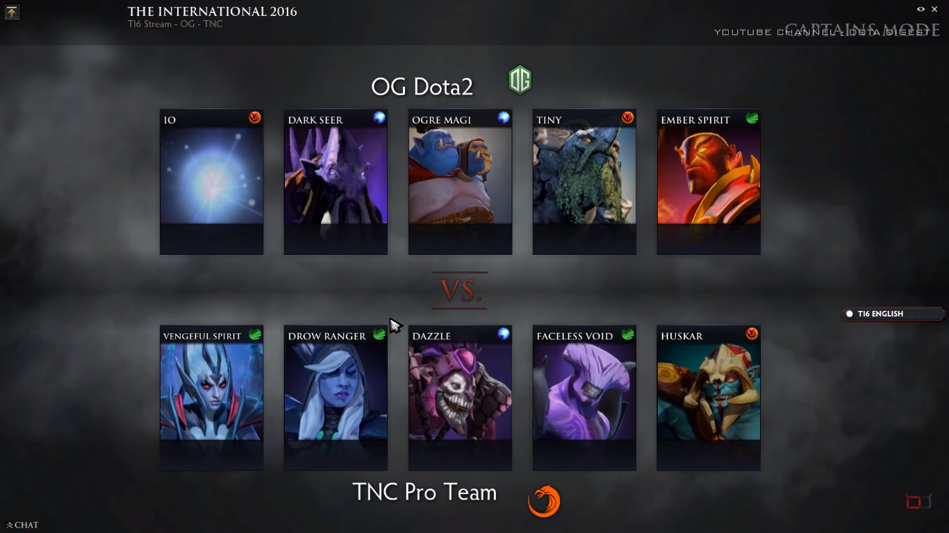 Game 2 draft! (Image courtesy of Dota Digest Youtube Channel)