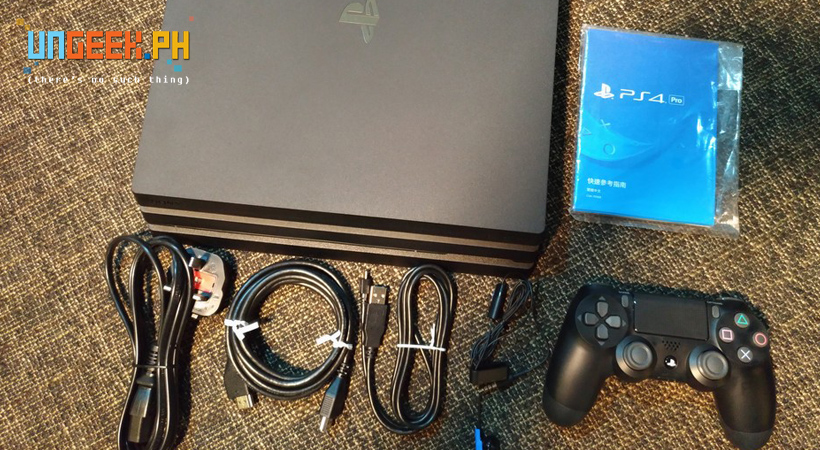 PS4 Pro, Power plug, HDMI Cable, USB Cable, Earphones with Mic, Controller, and Manual