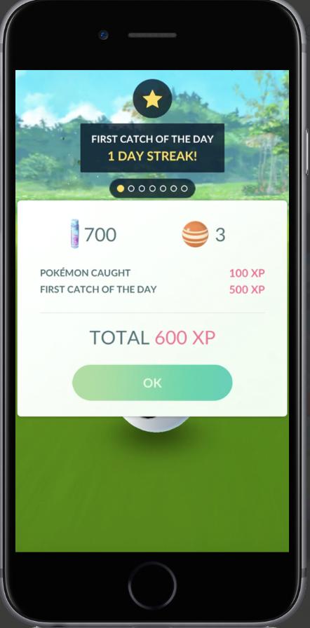 Daily Bonus for Catching a Pokémon