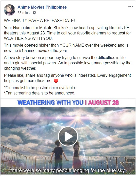 Weathering With You' PH release date moved to August 28 | Ungeek